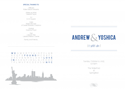Andrew and Yoshica's Wedding Program 1